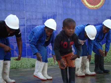 "Guga-S'tebe community arts center in Langa township...amazing performance by ""Happy Feet,"" the gumboot dancers...!"